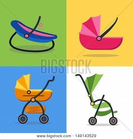 Baby Carriage Set on Background. Flat Design Style. Child Transport. Vector illustration