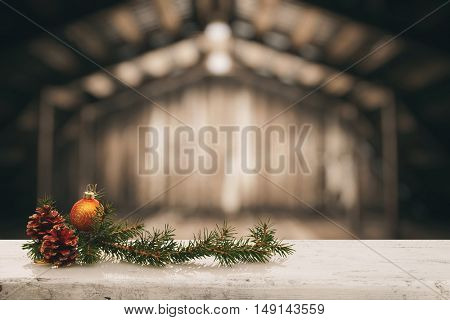 christmas decoration on old white wooden table in the old wooden room