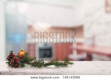 christmas decoration on old white wooden table in the living room