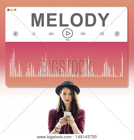 Lady Standing Listing Music Concept