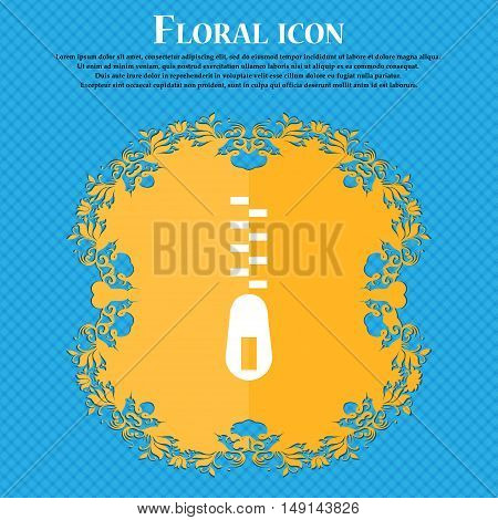 Zipper Icon Sign. Floral Flat Design On A Blue Abstract Background With Place For Your Text. Vector