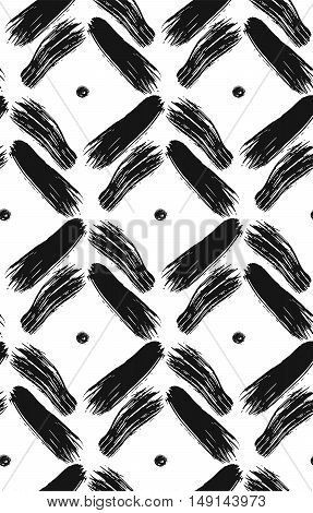 Vintage simple seamless pattern with brushed stroke and dots in black and white.Texture in art scandinavian style for web printhome decorspring summer fashion fabrictextilewebsite backgroundgift paper