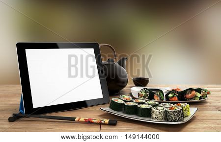 Online Japanese Food Delivery Concept With Sushi Rolls On An Electronic Tablet And Chopsticks 3D Ill