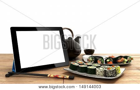 Online Japanese Food Delivery Concept With Sushi Rolls On An Electronic Tablet And Chopsticks 3D Ren