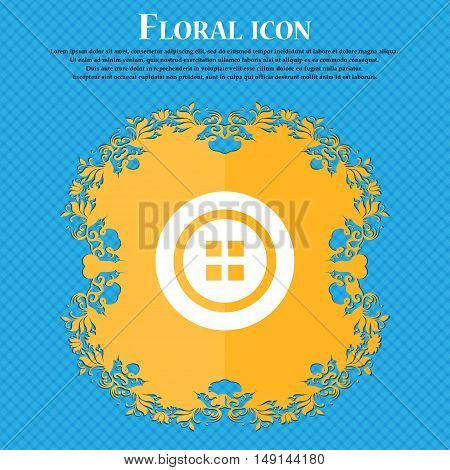 Sewing Button Sign. Floral Flat Design On A Blue Abstract Background With Place For Your Text. Vecto