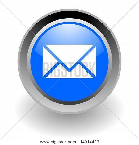 mail steel glossy icon