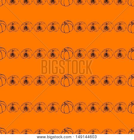 Halloween background with set of scary Jack-O-Lantern pumpkins. Seamless hand drawn pattern, vector doodle ornament. Sketchy illustration. Good for web, print, wrapping paper.