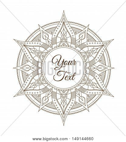 Oriental Indian Mandala Card for Your Business. Vector illustration