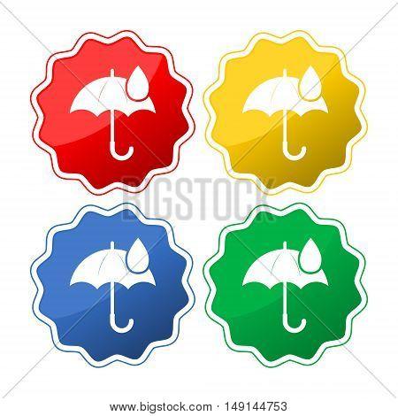Umbrella sign icon. Water drop symbol on white background