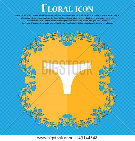 Underwear Icon Sign. Floral Flat Design On A Blue Abstract Background With Place For Your Text. Vect