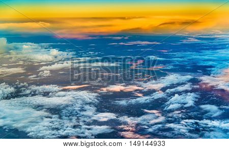 Aerial scenic view of South Norway in the evening