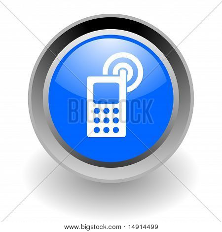 cell phone steel glossy icon