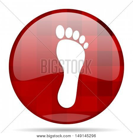 foot red round glossy modern design web icon