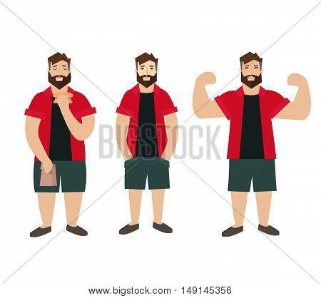Man Figure Fat Normal Slim. Flat Design Style. Vector illustration