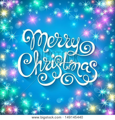 Merry christmas handwritten lettering on sparkling background. Vector illustration