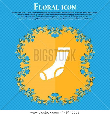 Socks Icon Sign. Floral Flat Design On A Blue Abstract Background With Place For Your Text. Vector