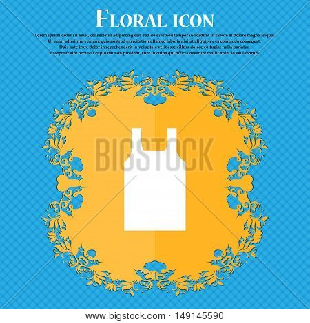 Working Vest Icon Sign. Floral Flat Design On A Blue Abstract Background With Place For Your Text. V