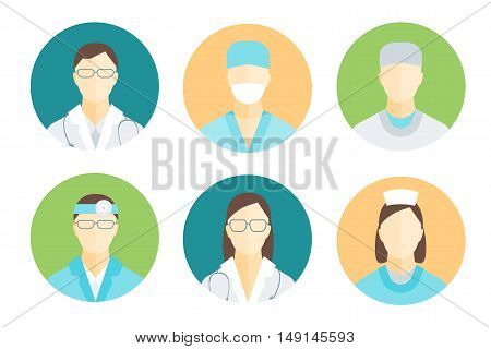 Doctors and Medical Staff in Circle Set for Emergency and Hospital. Flat Design Style. Vector illustration