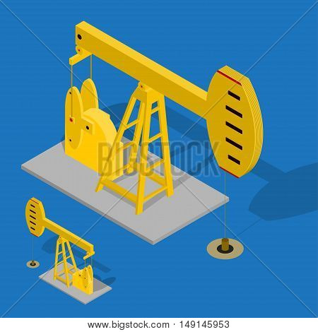 Oil Pump Energy Industrial on a Blue Background. Equipment for Industry. Isometric View. Vector illustration