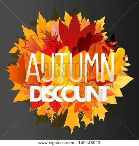 Color leaves illustration. Autumn sale vector concept