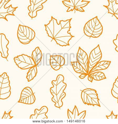 Different autumn leaves seamless pattern
