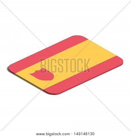 Flag of Spain. Background white. Flag of Spain isolated. 3d vector eps.
