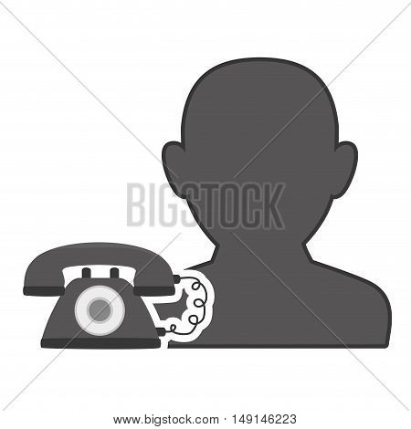 avatar man person male user with retro telephone icon silhouette. vector illustration