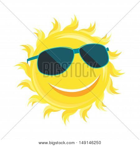 Sun Face with Sunglassess. Flat Design Style. Vector illustration