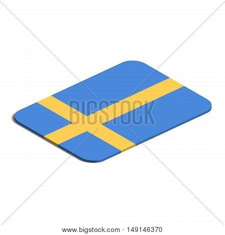 Flag of Sweden. Background white. Flag of Sweden isolated. 3d vector eps.