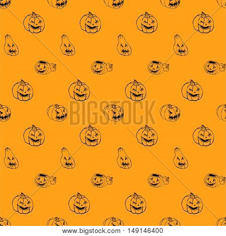 Halloween orange background with set of scary Jack-O-Lantern pumpkins. Seamless hand drawn pattern, vector doodle ornament. Sketchy illustration. Good for web, print, wrapping paper.