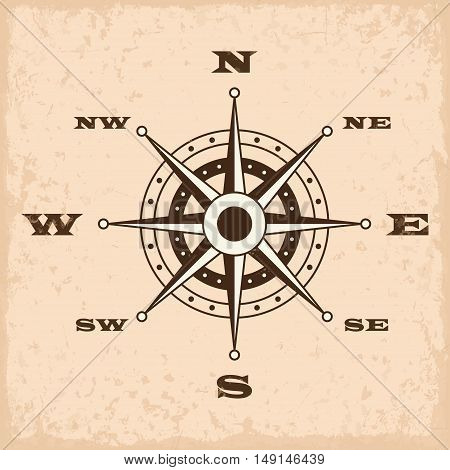 Wind rose with grunge. Vector illustration EPS10