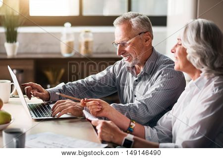 Togetherness. Senior couple sitting at the kitchen using the computer and smiling