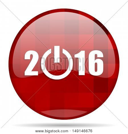 year 2016 red round glossy modern design web icon