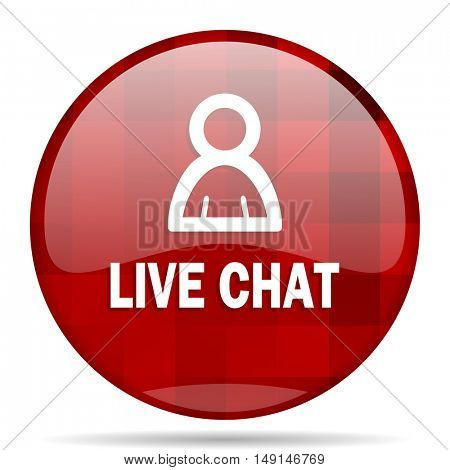 live chat red round glossy modern design web icon