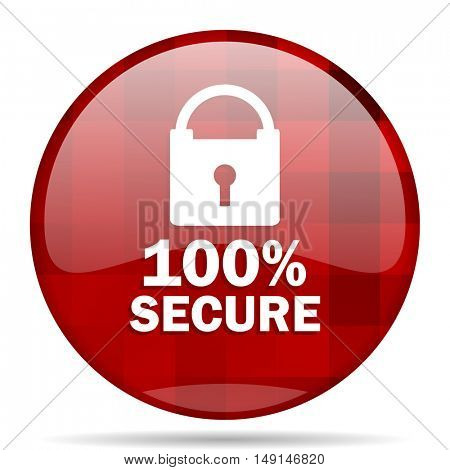 secure red round glossy modern design web icon