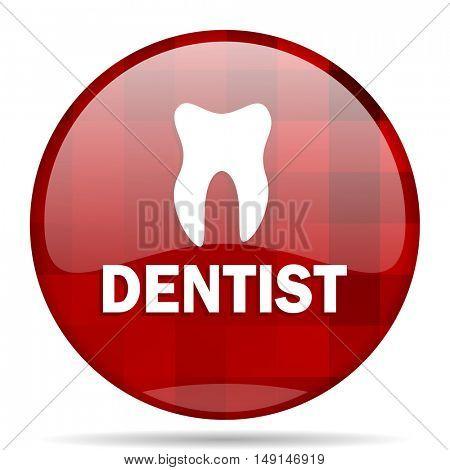 dentist red round glossy modern design web icon