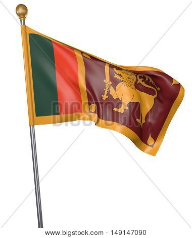 National flag for country of Sri Lanka isolated on white background, 3D rendering