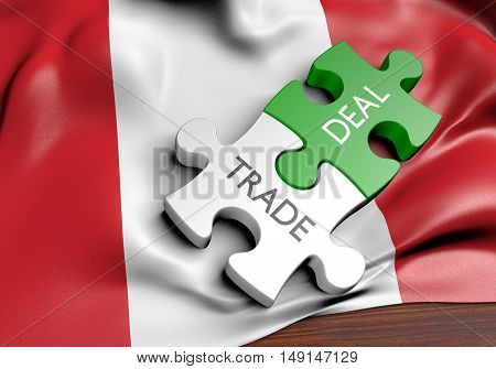Peru trade deals and international commerce concept, 3D rendering