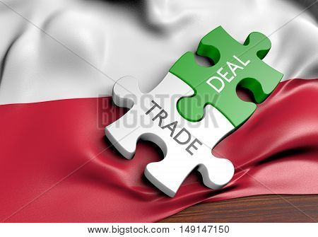 Poland trade deals and international commerce concept, 3D rendering