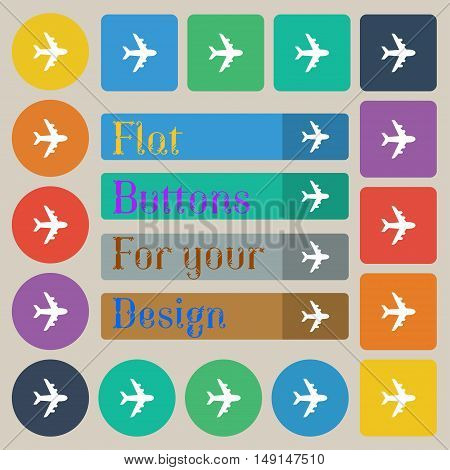 Plane Icon Sign. Set Of Twenty Colored Flat, Round, Square And Rectangular Buttons. Vector