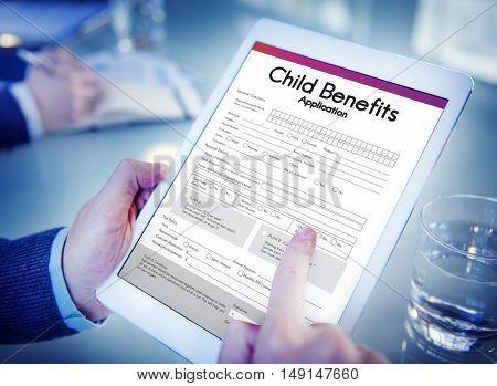 Child Benefits Application Form Concept