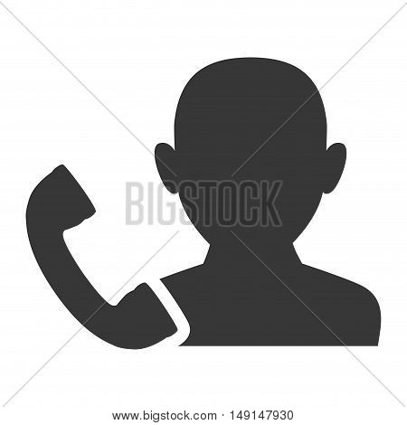 avatar man person male user with telephone handset icon silhouette. vector illustration