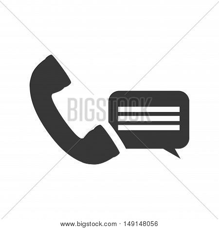 telephone handset with speech bubble icon silhouette. vector illustration