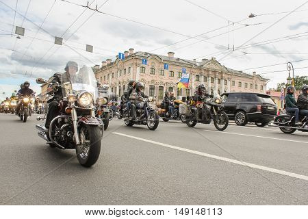 St. Petersburg, Russia - 13 August, Parade of Harley Davidson on the Green Bridge Nevsky Prospekt,13 August, 2016. The annual parade of Harley Davidson in the squares and streets of St. Petersburg.