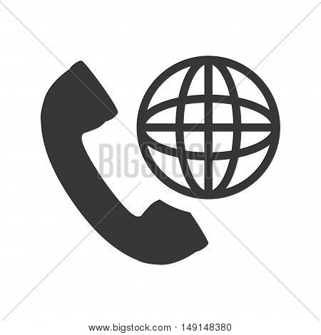 telephone handset with global sphere icon silhouette. vector illustration