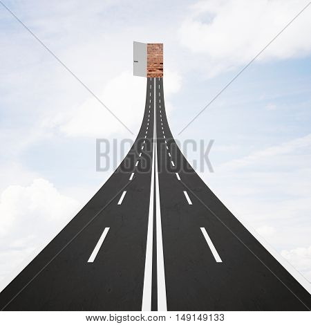Abstract road leading to open door with possibilities on bright sky background. Success concept. 3D Rendering
