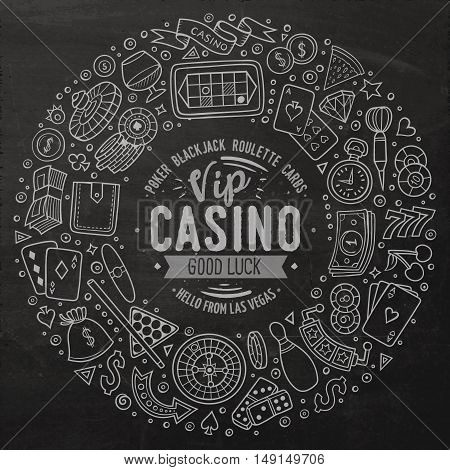 Chalkboard vector hand drawn set of Casino cartoon doodle objects, symbols and items. Round frame composition