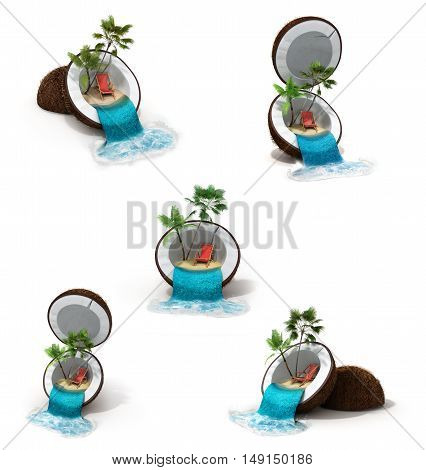 Tropical Island In Coconut Travelling Concept 3D Render On White