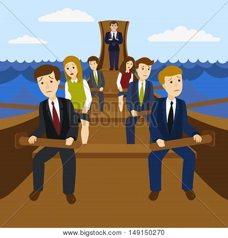 Office workers in the galley. Metaphor of hard work in the office. Cartoon colorful vector illustration