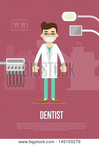 Dentist cartoon character vector illustration. Dentist with dental tools and tooth icon around. Infographics of dentist work. Dentist tools. Dental care concept. Ad for dental clinic or dentist office. Tooth health concept. Dental background